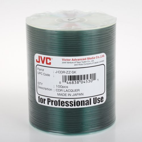 JVC Taiyo Yuden Silver Lacquer 52X CD-R Media 100 Pack in Plastic Wrap