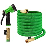 Joeys Garden Expandable Garden Hose - 75 Feet - Extra Strong Stretch Material with Brass Connectors - Bonus 8 Way Spray Nozzle Included