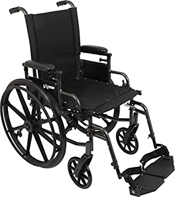 """ProBasics Ultra Lightweight Wheelchair for Adults - Height Adjustable Seat - Flip Back Heaight Adjustable Desk Arms - Swing-Away Foot Rest, 18"""" x 16"""" Seat from Roscoe Medical"""