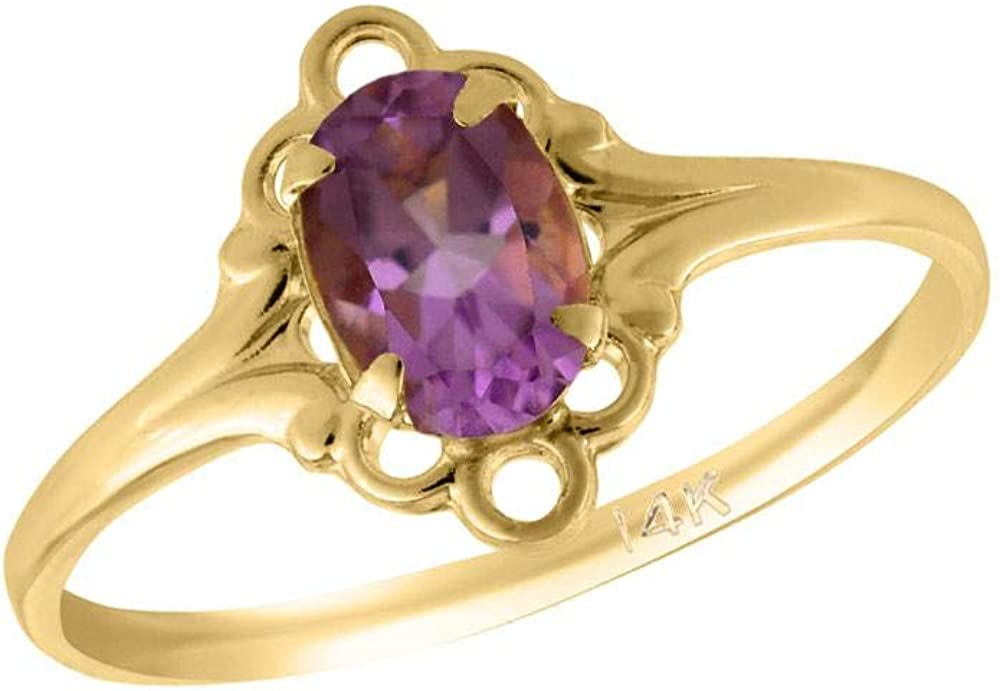Girl 14K Yellow Gold Oval Shape 5 OFFicial shop Ring Indefinitely Birthstone Genuine size
