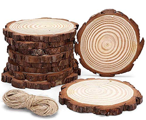 Natural Wood Slices with Holes Craft Wood 25pcs 3.1'-3.5' Craft Wood kit Unfinished Predrilled with Hole Wooden Circles for Arts and Crafts Christmas Ornaments DIY Crafts and Jute Twine