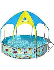 Bestway Steel Pro UV Careful Zwembad met stalen frame, zonder pomp, met zonnedak, Splash-in-shade, 244 x 51 cm, zwembad, multi