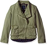 Tommy Hilfiger Girls' Big Cargo and Plaid Jacket, Sagier Green, X-Large