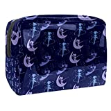 Bolsa de Maquillaje Bolsas de Aseo Organizador de cosméticos Bolsa con Cremallera para Mujeres Hada Voladora Varita mágica Luna