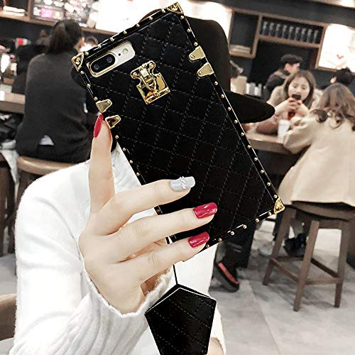 KAPADSON for iPhone 7 Plus,iPhone 8 Plus Newest Diamond Skin Design TPU+ PU Leather Gold Square Plaid Corner Back Case Flexible Cover with Strap - Black
