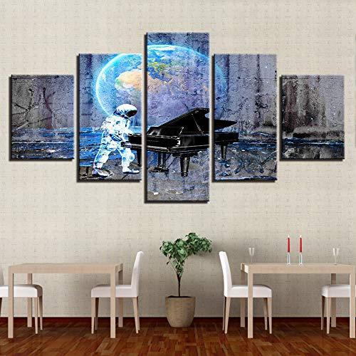 5 Stück Leinwanddruck Wandkunst Bilder,Portrait Von Astronauten Klavier Spielen, Poster Und Drucke Modulare Wand Bild, Wohnkultur Kunst / Wandbilder Bild Foto Ausdrucken Wand Für Wohnzimmer, Schlaf