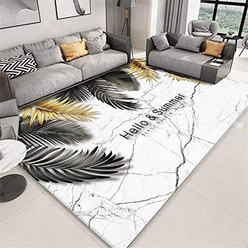 RUGMRZ Children Rugs Living room carpet gray and white simple leaf pattern soft carpet anti-slip Rugs Carpets Garden Rugs Waterproof off-white 50X80CM