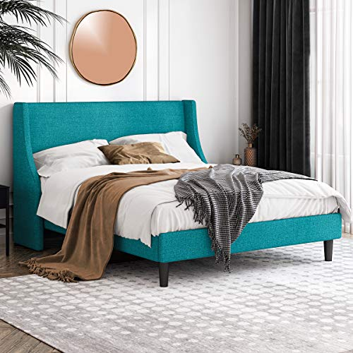 Einfach Queen Size Platform Bed Frame with Wingback Headboard / Fabric Upholstered Mattress Foundation with Wooden Slat Support, Jade Green