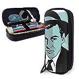 Lsjuee Retrato de personaje retro del actor Gary Cooper Estuche para lápices de cuero con cremallera, 8 x 3,5 x 1,5 pulgadas, microfibra, cuero PU, material de papelería, material artístico, oficina