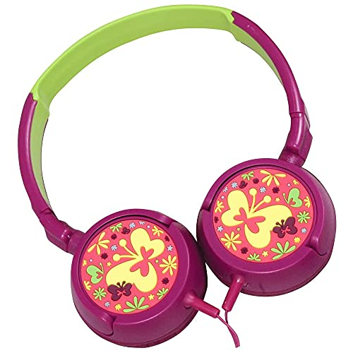 Volkano Girls Wired Kids Headphones with Hearing Protection, Padded Lightweight Kiddy Headset, 85 dB Safe for Children, E-Learning, Travel, PC, Cellphones [Purple/Green] Butterfly Kiddies Series
