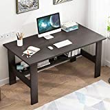 Computer Desk with Bookshelf - 47' Modern Simple Style Desk for Home Office, Bedroom Laptop Sturdy Writing Desk - Family Workstation, Small Table with Bottom Organize Shelves, Space Saving Design (A)