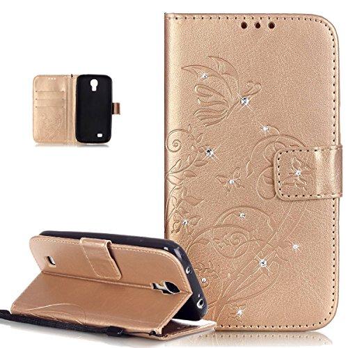 ikasus Compatible avec Coque Galaxy S4 Mini Etui Bling Sparkle Diamant Motif Embosser Fleur Vines Papillons Cuir PU Housse Portefeuille Protection Flip Case Etui Housse Coque pour Galaxy S4 Mini,D'or