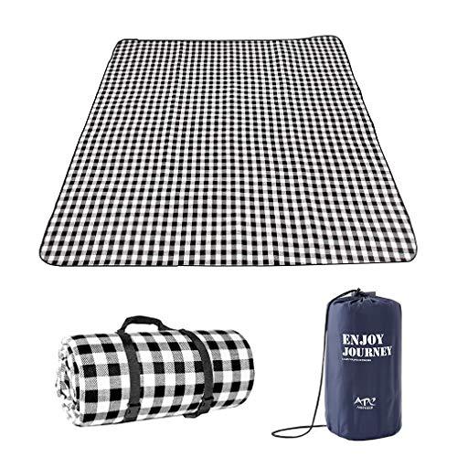 Lifetooler Picknickdecke wasserdichte,tragbar mit Trageriemen,Campingdecke wärmeisoliert Familien Matte für Picknicks,für Outdoor Party,nasses Gras,Wandern (150 * 200 (4-6 Personen), Schwarz Grau)