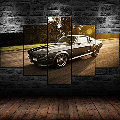 TOPOOO Canvas Wall Art Ford Mustang Eleanor Car Canvas Picture - 5 Part - 10055 cm Ready to Hang - Wall Art Print - Completely Framed - Image Printed - Art on Canvas - Art Print Images