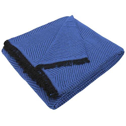 MERCURY TEXTIL- Colcha Multiusos Sofa,Manta Foulard,Plaid para Cama,Cubresofa Cubrecama,jarapas,Comoda Practica y Suave. Poliester Algodón (180 x 260cm, Espiga Azul Negro)