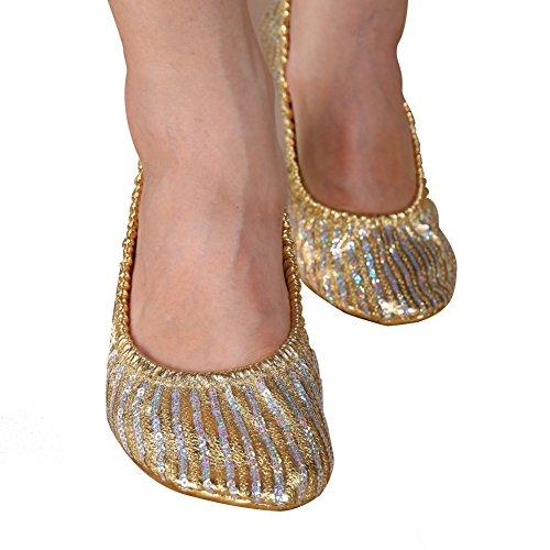 ChYoung Zapatos de danza del vientre para mujer Zapatilla de niña Ballet plano Gimnasia Zapatos de baile Accesorios de ropa de baile