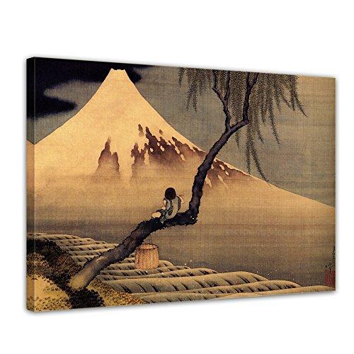 Keilrahmenbild Katsushika Hokusai Flötenspieler auf einem Trauerweidenzweig, den Fuji betrachtend - 120x90cm quer - Bild auf Leinwand Gemälde