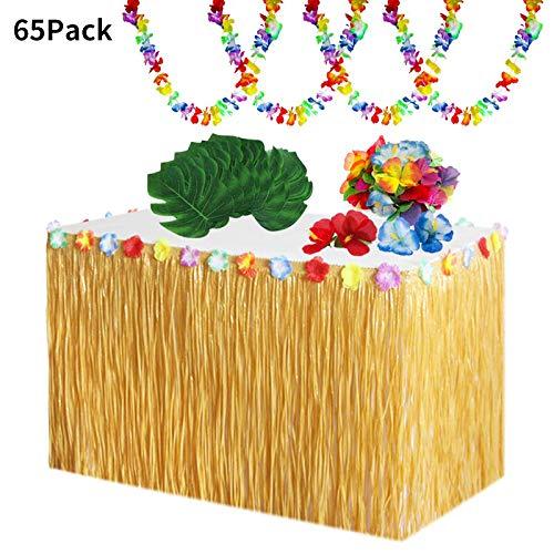 65 Stück Hawaii Luau Tischröcke Set,Hawaii Luau Tischröcke 9ft mit Hawaiianische Blüten,Künstliche Palmenblätter,Hawaii Lei Banner für BBQ tropischen Garten Strand Sommer Tiki Party Dekoration
