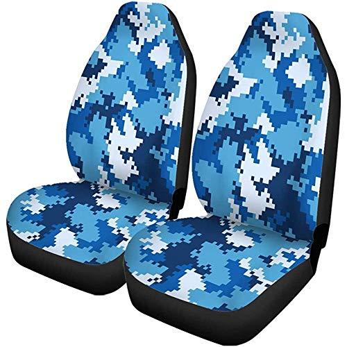 Enoqunt Autostoelhoezen, camouflagepatroon, digitale pixels, blauw, marine, Chinees, camouflage, set van 2 beschermers