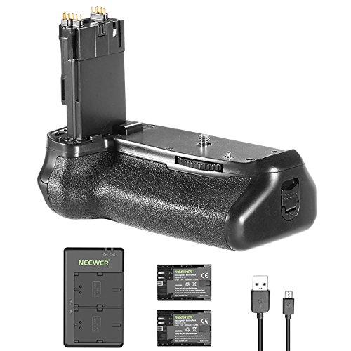 Neewer Akku-Griffhalter (Ersatzgriff für Canon BG-E14) und 2 Stücke 2000mAh LP-E6 LP-E6N Ersatzbatterie mit Mikro USB Eingang Dual Ladegerät für Canon EOS 70D 80D Kamera DSLR