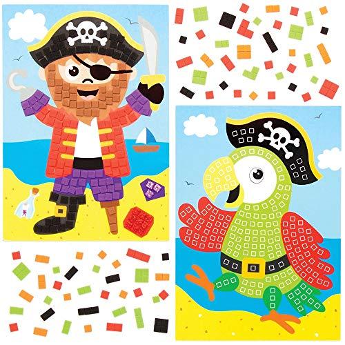 Baker Ross Kits de Imágenes de Pirata Para Decorar con Mosaicos AT676 (paquete de 4) para proyectos de arte y manualidades para niños, surtidos