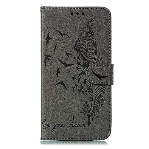 Thoankj Samsung Galaxy A41 Hülle, [Brieftasche] Premium weiches PU-Leder Notebook Wallet Case Feder-Vögel mit Ständer Kartenhalter und ID Slot Slim Flip Schutzhülle für Samsung Galaxy A41