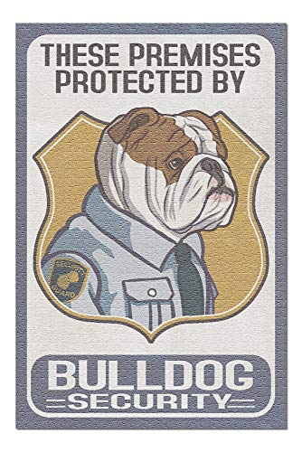 Lantern Press English Bulldog Security - Dog Sign 82689 (1000 Piece Premium Jigsaw Puzzle for Adults and Family, 19x27)