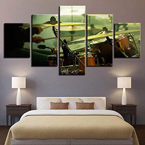 Lucellgh 5 Panele Drucke Auf Leinwand Schlagzeug Drucken Poster Bilder Wandkunst Für Wohnzimmer Kunstwerk 150Cmx80Cm
