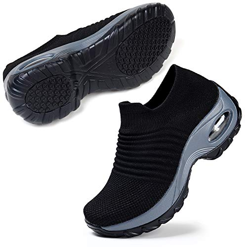 Slip On Breathe Mesh Walking Shoes Women Sneakers Nursing Shoes Comfort Wedge Tennis Platform Loafers Black Size 7.5