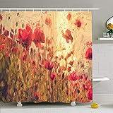 N\A Ahawoso Duschvorhang Set mit Haken Impressionist EIN digitaler Impressionismus Gemälde Bloom Original Field Schöne Naturfarbe Wiese Wasserdichtes Polyestergewebe Bad Dekor für Badezimmer