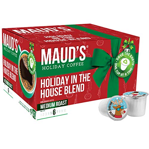 Maud's Holiday Blend Coffee (Holiday In The House Of Clause Blend - Santa's Elves Are Rocking A Whole New Groove), 40ct. Recyclable Single Serve Medium Dark Roast Holiday Coffee Pods - 100% Arabica Coffee California Roasted, Medium Dark Roast K Cups Compatible