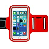 Red Armband Exercise Workout Case with Keyholder for Jogging fits Yota Yotaphone 2. for Arms up to 12 inches Big.