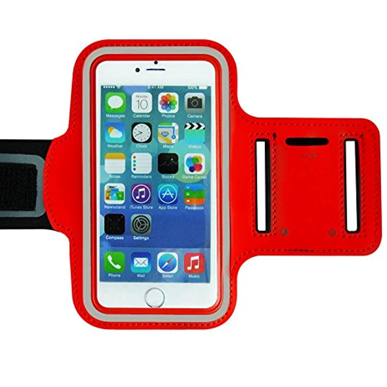 Red Armband Exercise Workout Case with Keyholder for Jogging fits Mophie Juice Pack Case on iPhone 5s, 5c. for Arms up to 12 inches Big, Works Best with no Cover on Your Phone.