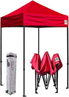 Eurmax 5x5 Ez Pop up Canopy Outdoor Heavy Duty Instant Tent Pop-up Canopies Sun Shelter with Deluxe Wheeled Carry Bag (Red)