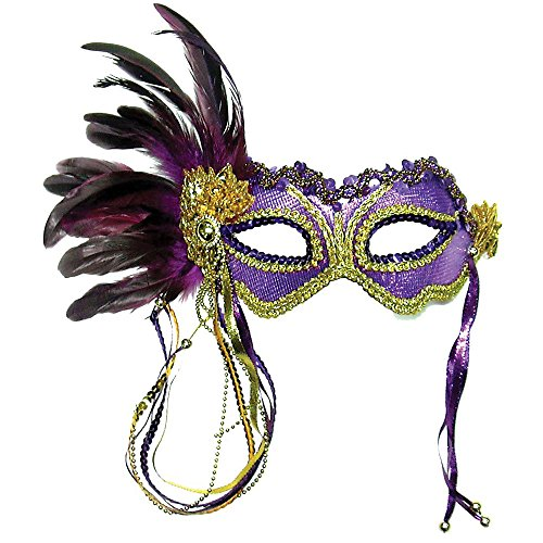 Purple Metallic Ball Mask With Feather Fancy Dress (masque/carette)