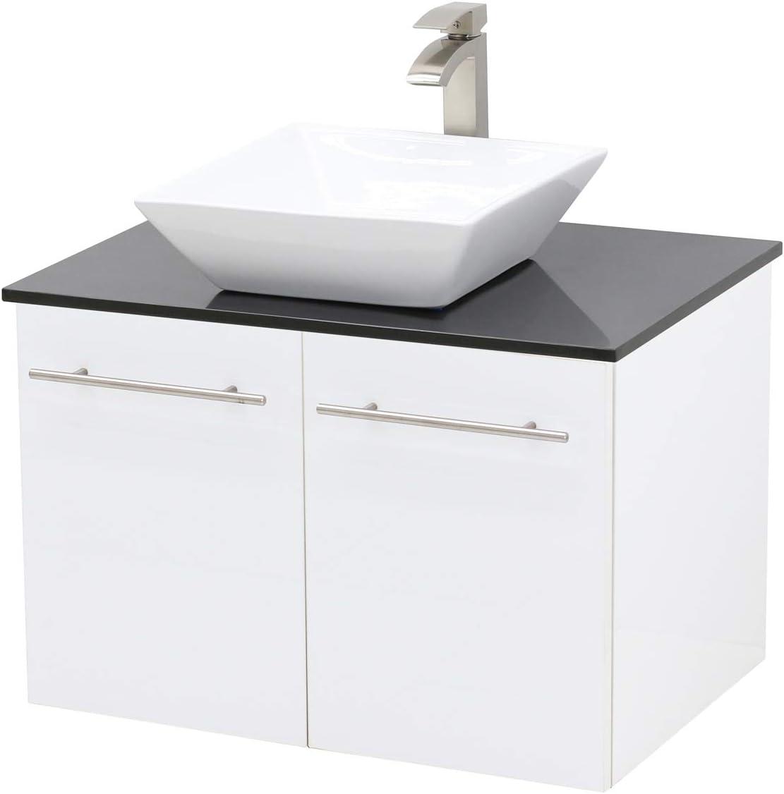 Windbay Wall Mount Floating Bathroom Vanity Sink Set White Embossed Texture Vanity Black Flat Stone Countertop Ceramic Sink 30 Amazon Com