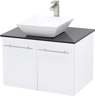 WindBay Wall Mount Floating Bathroom Vanity Sink Set, White Embossed Texture Vanity, Black Flat Stone Countertop Ceramic Sink - 24
