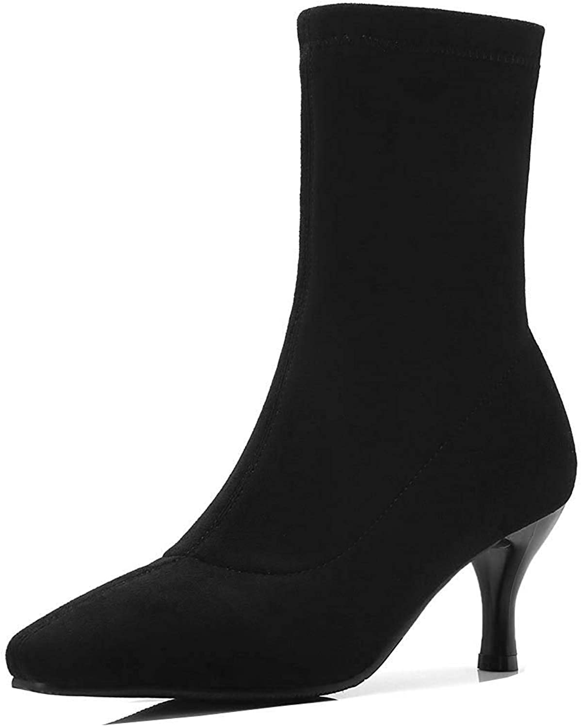 Unm Women's Simple Elegant Faux Suede Pull On Pointed Toe Stiletto Kitten Heel Dress Mid Calf Boots