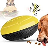 【2021 Upgraded】 Dog Treat Toy Dog Treat Ball Food Dispensing Toy Interactive Dog Toy Squeaky Burger for Aggressive Chewers for Medium Puppy Dogs Playing Chasing Chewing (Yellow)