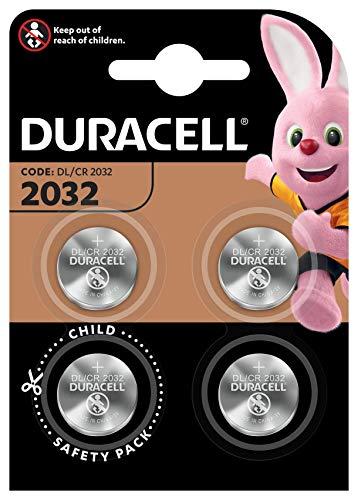 Duracell Specialty 2032 litowe ogniwo guzikowe 3 V, 4 sztuki, z technologią zabezpieczającą przed dziećmi, do stosowania w breloczkach do kluczy, wagach, urządzeniach medycznych (CR2032/DL2032)