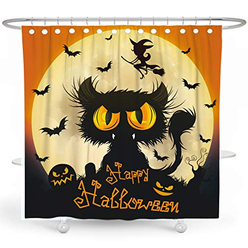 BARGHE Halloween Shower Curtain Black Cat Shower Curtain...