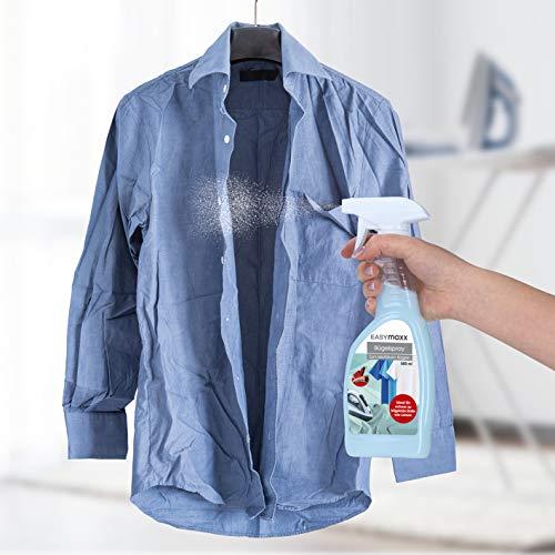 EASYmaxx Bügelspray 500ml für Hemdenbügler   Gewebeglätter für Textilien, Faltenfrei ohne Bügeln   Antifaltenspray [Bügelwasser]