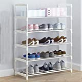 DAFEICHUAN Tallero de Zapatos, Perchero de Zapatos 6-Nivel Zapato de Metal Organizador Hode Hode hasta 15 Pares Zapatos Entrada Organizador, Pasillo o Salón (Color: Blanco) (Color : White)