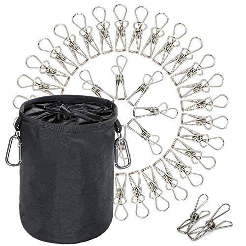 Pinces à linge et sac avec pinces de suspension | Attaches en acier inoxydable pour un accrochage résistant au vent et à la rouille pour la salle de bains, le jardin, le balcon | Pack de 60
