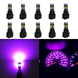 WLJH High Bright Pink T5 Dash Light Bulbs Car Replacement Instrument Panel Cluster Gauge Warning Indicator Lights 73 74 286 2721 Led Bulb with PC74 Twist Lock Socket,Pack of 10