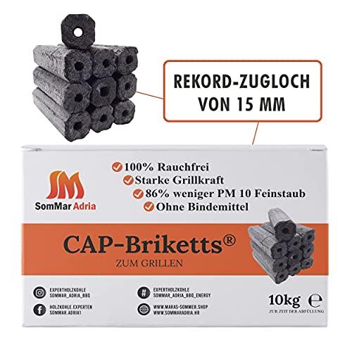 Cap Briketts Premium Grillbriketts 10kg | Grillbriketts Lange Brenndauer Rauchfreie Grillbriketts | Grill Briketts | Made in Europa mit FSC Zertifizierung