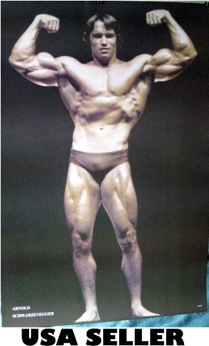 Arnold Schwarzenegger Bodybuilding Poster Front View 23.5 x 34 As He Looked in 1970s (Sent from USA in PVC Pipe)