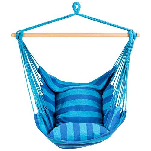 DREAMADE Hängesessel Hängestuhl mit 2 Kissen und Querholz, Hängematte Hängesitz geeignet für Zuhause Garten Terrasse, Hängeschaukel für Kinder und Erwachsene, 120kg belastbar (Azurblau)