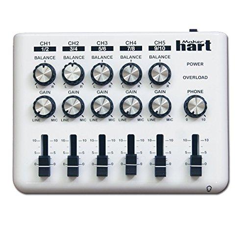 Loop Mixer, tragbarer Audio-Mixer mit 5 x 3,5 mm Stereo, 10 x 1/4 Zoll Mono-Eingänge und 3 Ausgängen Loop + DM2S Adapter