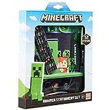 Minecraft Set Papeleria para Niños, Incluye Estuche Escolar Cuaderno A5 Bloc de Notas Lapices Colores Boligrafo, Regalos Cumpleaños Niños Colegio